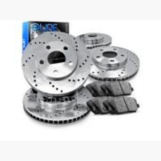 2010 Chevrolet Express 2500 6.6L Front And Rear Cross Drilled Brake Rotors + Ceramic Pads USA