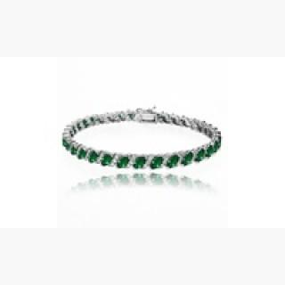 925 Silver Simulated Emerald 6x3mm Tennis Bracelet with White Topaz Accents