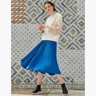 Cobalt Blue Pleated Midi Skirt