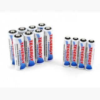 Combo: 12pcs Tenergy Premium NiMH Rechargeable Batteries (8AA/4AAA) USA