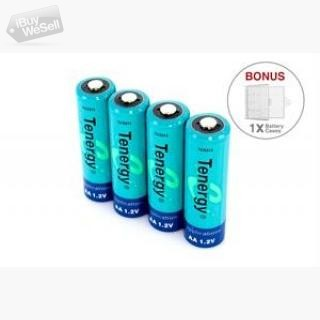 Combo: 4pcs Tenergy AA 2600mAh NiMH Rechargeable Batteries + 1 Case USA