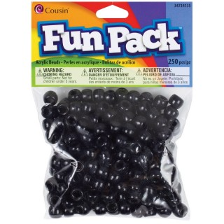 Cousin CCPONY-34135 Fun Pack Acrylic Pony Beads 250/Pkg-Black USA