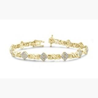 Jewelonfire Accent White Diamond Bracelet in 14K Gold Plated Brass