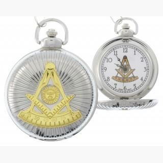 Masonic Past Master Pocket Watch - Duo-tone Steel and Gold Color Emblem / Mason Square and Compass D Sverige