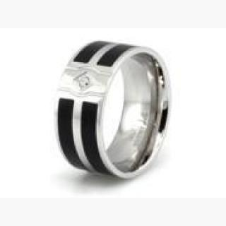 Stainless Steel Ring w/ Dual Resin Inlay & CZ