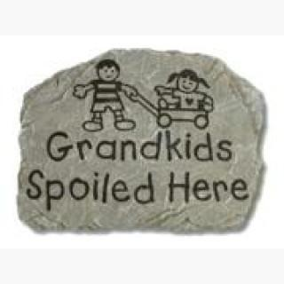 "10.5"" Slate-Look Grandkids Welcome Decorative Outdoor Patio Garden Stone"
