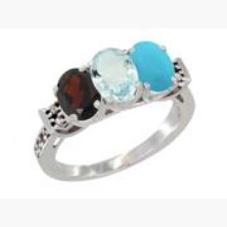 10K White Gold Natural Garnet, Aquamarine & Turquoise Ring 3-Stone Oval 7x5 mm Diamond Accent, sizes USA