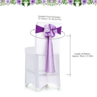 10PCS Wedding Banquet Decorations Handmade Bow Elastic Spandex Organza Chair Cover Sashes Bows Event