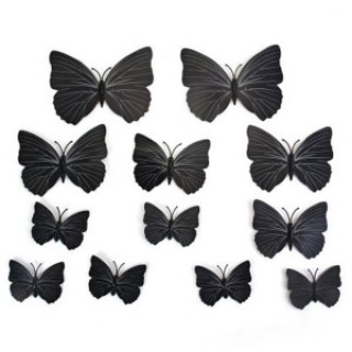 12pcs 3D Butterfly Wall Stickers Fridge Magnet Home Decoration Black