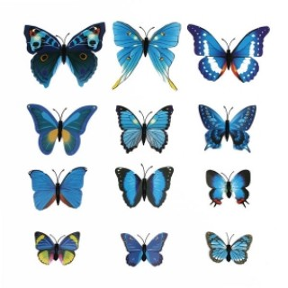12pcs 3D Butterfly Wall Stickers Fridge Magnet Home Decoration Blue