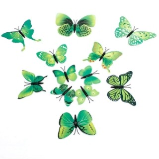 12pcs 3D Butterfly Wall Stickers Fridge Magnet Home Decoration Green