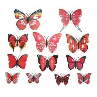 12pcs 3D Butterfly Wall Stickers Fridge Magnet Home Decoration Red