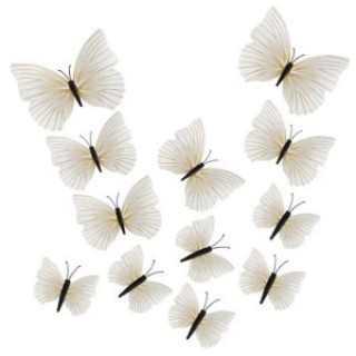 12pcs 3D Butterfly Wall Stickers Fridge Magnet Home Decoration White