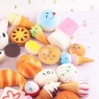 15 PCS Mini Soft Extrusion Bread Toys Keyring Rising Decompression Squeeze Toys Children Gift