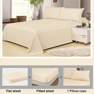 1800 Series Wrinkle Free Ultra Soft Solid 4-piece Sheet Set in 9 Colors - Queen, Beige
