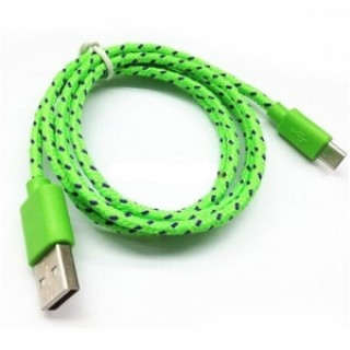 1M Micro USB Data Fast Charger Cable Android V8 Nylon Braided Green USA