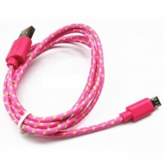1M Universal Micro USB Android V8 Nylon Braided Data Cable Rose Red