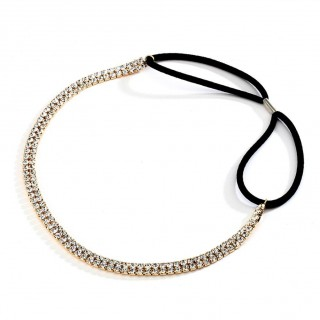 2-Row Gold Rhinestone Adjustable Stretch Headband