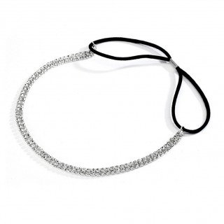 2-Row Silver Rhinestone Adjustable Stretch Headband
