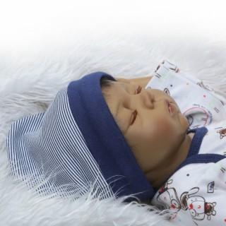 22inch Silicon Reborn Toddler Doll Sleeping Baby Doll Boy Eyes Close With Hair Clothes Boneca Lifeli