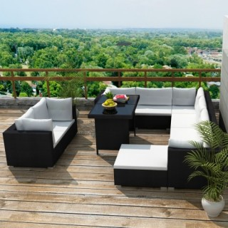 28 pcs Outdoor Furniture Outdoor furniture in black polirattan