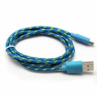 2M Universal Micro USB Data Charger Cable Android V8 Nylon Braided Blue