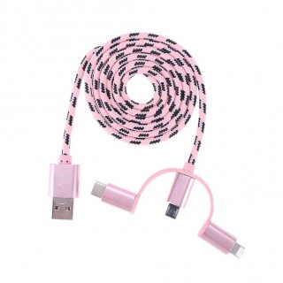 3 in 1 Data Cable Type-C Charging Cable for Apple Android(Pink)