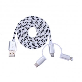 3 in 1 Data Cable Type-C Charging Cable for Apple Android(White)