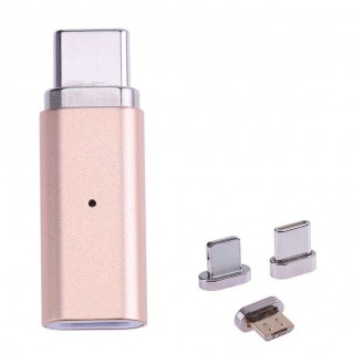 3 in 1 Metal Magnetic Micro USB Female to Type-C/IOS/Android Adapter Gold