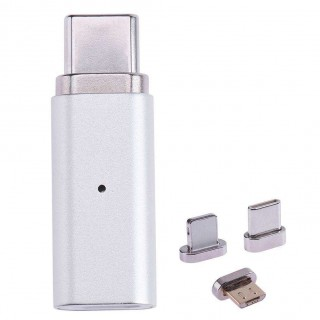 3 in 1 Metal Magnetic Micro USB Female to Type-C/IOS/Android Adapter Silver