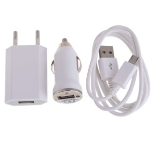 3IN1 USB Charging Cable Car Charger Power Adapter EU for Android Cellphones
