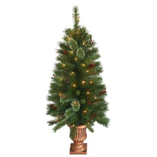 4 foot Glistening Pine Entrance Tree in Gold Urn: Clear Lights UK
