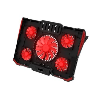 5 Fans Portable Laptop Cooling Pad LED Light Dual 2.0 USB Port Cooler Fit for Above 17 Inch Notebook