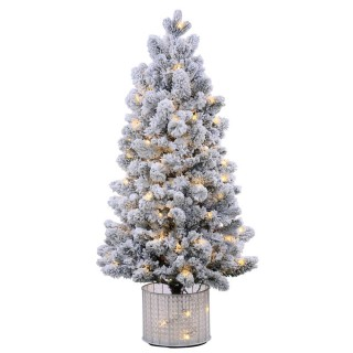 5 foot PE/PVC Potted Morgan Flocked Tree: Clear LEDs UK