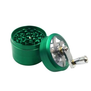 55mm 4 Layers Herb Tobacco Grinder Zinc Alloy Hand Crank Herbal Spice Crusher Smoking Pipe Accessori
