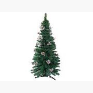 6' Pre-Lit Fiber Optic Artificial Christmas Tree with Silver Holly - Multi