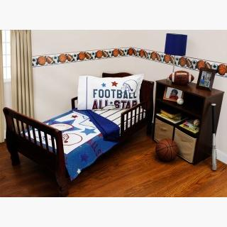 American Football Toddler Bedding Set - 3pc All Star Sports Blanket and Fitted Sheet