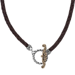 American West Brass Toggle Braided Brown 17 Leather Cord Necklace