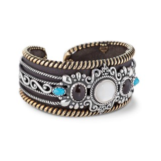 American West Sterling Silver Gemstone Leather Cuff Bracelet