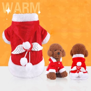 Angel Wing Dog Costume Christmas Pet Clothes Winter Hoodie for Dog Pet - S
