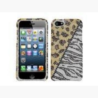 Apple iPhone 5/5S Case, Leopard/Zebra Rhinestone Diamond Bling Hard Snap-in Case Cover for Apple iPh