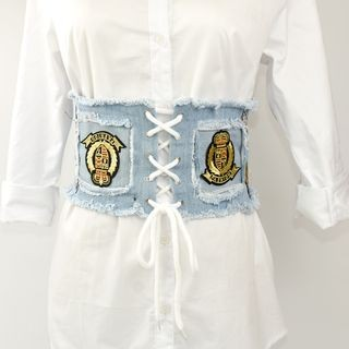 Applique Lace Up Fringed Denim Corset Belt Denim Blue - One Size