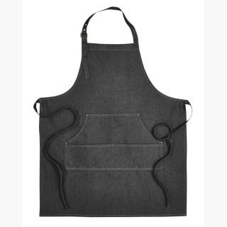 Artisan Collection RP126 Unisex Jeans Stitch Denim Bib Apron - Black Denim - One Size