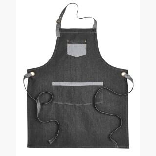Artisan Collection RP127 Unisex Domain Contrast Denim Bib Apron - Black Denim - One Size