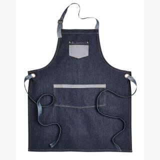 Artisan Collection RP127 Unisex Domain Contrast Denim Bib Apron - Indigo Denim - One Size