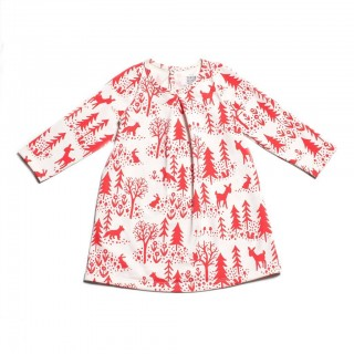 Aspen Red Winter Scene Dress by Winter Water Factory