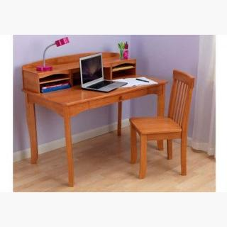 Avalon Desk with Hutch And Chair - Honey