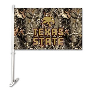BSI PRODUCTS 37195 Texas State Bobcats Car Flag W/Wall Brackett - Realtree Camo Background