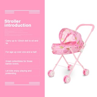 Baby Infant Doll Stroller Carriage Foldable With Doll For 12inch Doll Barbie Mini Stroller Toys Gift