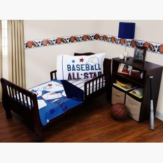 Baseball Toddler Bedding Set - 3pc All Star Sports Blanket and Fitted Sheet